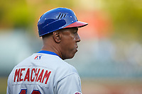Buffalo Bisons manager Bobby Meacham (10) coaches third base during the game against the Caballeros de Charlotte at BB&T BallPark on July 23, 2019 in Charlotte, North Carolina. The Bisons defeated the Caballeros 8-1. (Brian Westerholt/Four Seam Images)