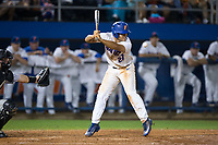 Nelson Maldonado (27) of the Florida Gators tries to avoid getting hit by a pitch during the game against the Wake Forest Demon Deacons in Game One of the Gainesville Super Regional of the 2017 College World Series at Alfred McKethan Stadium at Perry Field on June 10, 2017 in Gainesville, Florida.  The Gators defeated the Demon Deacons 2-1 in 11 innings.  (Brian Westerholt/Four Seam Images)