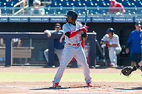 Scottsdale Scorpions second baseman Shed Long (6), of the Cincinnati Reds organization, at bat during an Arizona Fall League game against the Peoria Javelinas at Peoria Sports Complex on October 18, 2018 in Peoria, Arizona. Scottsdale defeated Peoria 8-0. (Zachary Lucy/Four Seam Images)