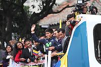 BOGOTA -COLOMBIA- 13-08-2013. Llegada y recibimiento a Nairo Quintana en la capital de la republica  /  Arrival and welcome to Nairo Quintana in the capital of the republic <br />  . Photo: VizzorImage /Felipe Caicedo  / STAFF