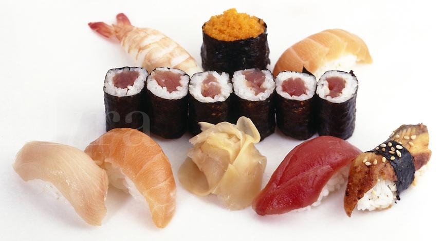 Sushi Variety Nigirisushi; tuna, yellowtail, shrimp, eel, salmon, cavior, sushi