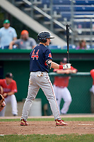 Lowell Spinners second baseman Jarren Duran (44) at bat during a game against the Batavia Muckdogs on July 15, 2018 at Dwyer Stadium in Batavia, New York.  Lowell defeated Batavia 6-2.  (Mike Janes/Four Seam Images)