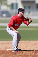 Boston Red Sox minor league second baseman Jason Thompson (18) during a game vs. the Minnesota Twins in an Instructional League game at Lee County Sports Complex in Fort Myers, Florida;  October 1, 2010.  Photo By Mike Janes/Four Seam Images