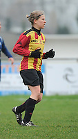 20160116 - ZULTE , BELGIUM : KV Mechelen's Judith Van Bulck   pictured during a soccer match between the women teams of Famkes Merkem B and Yellow-Red KV Mechelen  , during the matchday in the Tirth League - Derde Nationale season, Saturday 13 February 2016 . PHOTO DIRK VUYLSTEKE