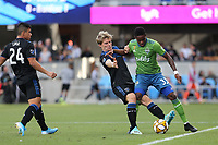 SAN JOSE, CA - SEPTEMBER 29: Tommy Thompson #22 of the San Jose Earthquakes battles Joevin Jones #33 of the Seattle Sounders FC during a Major League Soccer (MLS) match between the San Jose Earthquakes and the Seattle Sounders on September 29, 2019 at Avaya Stadium in San Jose, California.