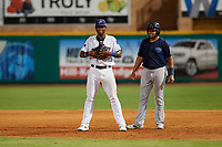 Mobile BayBears Jhoan Urena (14) leads off behind first baseman Lewin Diaz (11) during a Southern League game against the Mobile BayBears on July 25, 2019 at Blue Wahoos Stadium in Pensacola, Florida.  Pensacola defeated Mobile 3-2 in the second game of a doubleheader.  (Mike Janes/Four Seam Images)