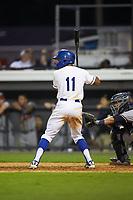 Kevon Jackson (11) of the Burlington Royals at bat against the Danville Braves at Burlington Athletic Stadium on July 13, 2019 in Burlington, North Carolina. The Royals defeated the Braves 5-2. (Brian Westerholt/Four Seam Images)