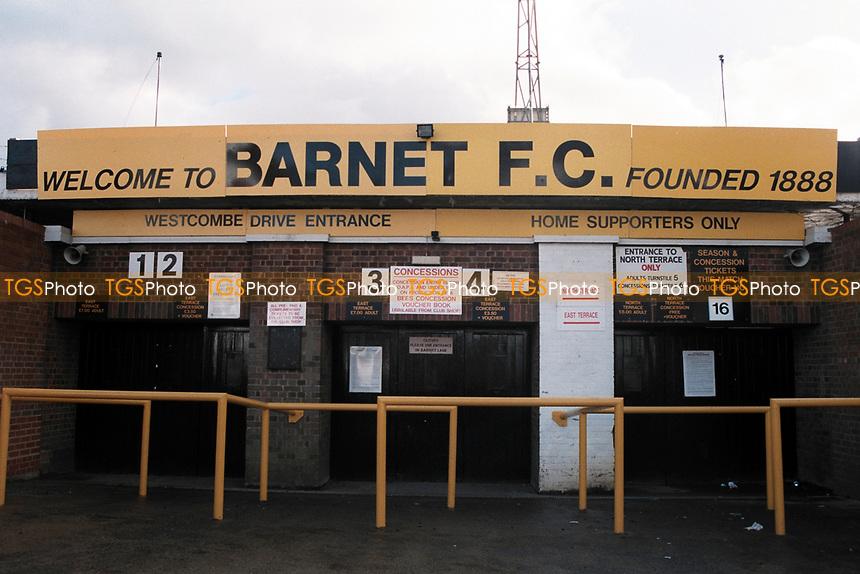 Turnstiles at Barnet FC Football Ground, Underhill Stadium, Barnet, London, pictured on 10th February 1996