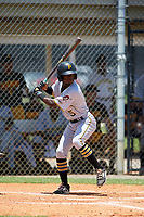 GCL Pirates second baseman Victor Ngoepe (5) at bat during a game against the GCL Tigers West on July 17, 2017 at TigerTown in Lakeland, Florida.  GCL Tigers West defeated the GCL Pirates 7-4.  (Mike Janes/Four Seam Images)