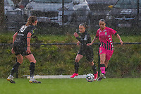Alysson Duterne (14) of Sporting Charleroi with the ball during a female soccer game between Sporting Charleroi and White Star Woluwe on the 7 th matchday in play off 2 of the 2020 - 2021 season of Belgian Scooore Womens Super League , friday 14 th of May 2021  in Marcinelle , Belgium . PHOTO SPORTPIX.BE | SPP | Sevil Oktem