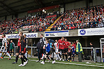 Crusaders 1 Fulham 3, 16/07/2011. Seaview Park, Europa League 2nd qualifying round first leg. The teams walking on to the pitch at Seaview Park, Belfast before Northern Irish club Crusaders take on Fulham in a UEFA Europa League 2nd qualifying round, first leg match. The visitors from England won by 3 goals to 1 before a crowd of 3011. Photo by Colin McPherson.