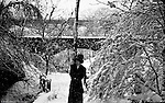 Highland Park PA:  Snow covered walking Path near the Highland Park bridge.  Brady Stewart and his date making a day of it at Highland Park. The Stewart family visited the park often since they lived nearby on Wellesley Avenue in Highland Park.