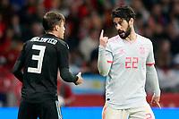 Spain's Isco Alarcon (r) and Argentina's Nicolas Tagliafico have words during international friendly match. March 27,2018.(ALTERPHOTOS/Acero) /NortePhoto.com NORTEPHOTOMEXICO