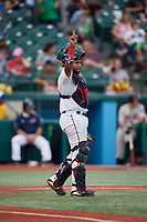 Brooklyn Cyclones catcher Jose Mena (16) during a NY-Penn League game against the Tri-City ValleyCats on August 17, 2019 at MCU Park in Brooklyn, New York.  Brooklyn defeated Tri-City 2-1.  (Mike Janes/Four Seam Images)
