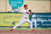 Palm Beach Cardinals second baseman Nick Dunn (12) throws to first base during a Florida State League game against the Clearwater Threshers on August 11, 2019 at Roger Dean Chevrolet Stadium in Jupiter, Florida.  Palm Beach defeated Clearwater 4-1.  (Mike Janes/Four Seam Images)