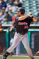 Roberto Ramos (44) of the Albuquerque Isotopes bats against the Salt Lake Bees at Smith's Ballpark on April 28, 2019 in Salt Lake City, Utah. The Bees defeated the Isotopes 14-8. (Stephen Smith/Four Seam Images)