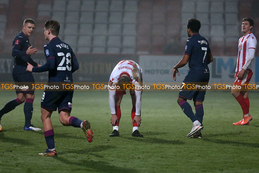 Despair for Luke Norris (C) after his penalty for Stevenage is saved during Stevenage vs Swansea City, Emirates FA Cup Football at the Lamex Stadium on 9th January 2021