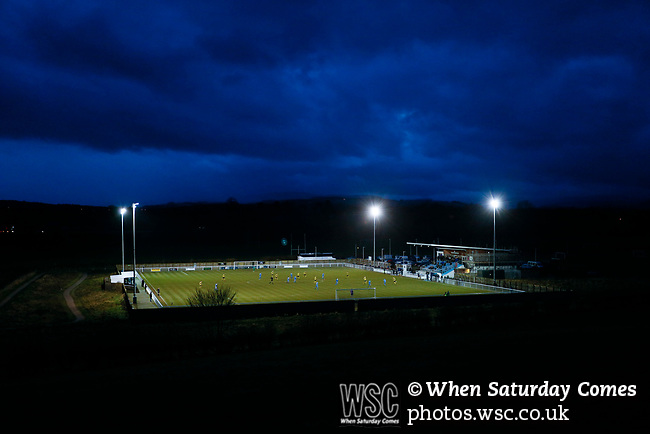 A view of Frenchfield Park from the adjoining fields at twilight. Penrith AFC V Hebburn Town, Northern League Division One, 22nd December 2018. Penrith are the only Cumbrian team in the Northern League. All the other teams are based across the Pennines in the north east.<br /> Penrith, winless at kick off, lost a thriller 3-4, in front of 100 people. They won five games all season, but were reprieved from relegation following Blyth's resignation from the league.