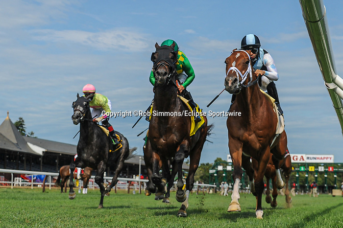 September 7, 2020: Ballagh Rocks #4, ridden by Junior Alvarado, wins the Lure S at Saratoga Race Course in Saratoga Springs, New York. Rob Simmons/Eclipse Sportswire/CSM