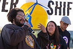 Michael Ofor, indigenous activist from North Dakota, speaks at the Powershift rally. Over six thousand young people from all over the country are converging in Pittsburgh, PA for Power Shift 2013, a massive training dedicated to bringing about a safe planet and a just future for all people. (Photo by: Robert van Waarden)