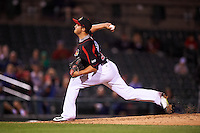 Rochester Red Wings relief pitcher D.J. Baxendale (22) delivers a pitch during a game against the Syracuse Chiefs on July 1, 2016 at Frontier Field in Rochester, New York.  Rochester defeated Syracuse 5-3.  (Mike Janes/Four Seam Images)