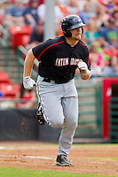 Brent Tanner (23) of the Kannapolis Intimidators hustles down the first base line against the Hickory Crawdads at L.P. Frans Stadium on May 25, 2013 in Hickory, North Carolina.  The Crawdads defeated the Intimidators 14-3.  (Brian Westerholt/Four Seam Images)