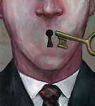 Close-up of a male executive with key depicting business secrecy