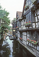 Canterbury: Half-timbered housing on Great Stour River.