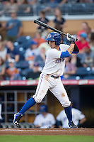 Hak-Ju Lee (3) of the Durham Bulls at bat against the Scranton/Wilkes-Barre RailRiders at Durham Bulls Athletic Park on May 15, 2015 in Durham, North Carolina.  The RailRiders defeated the Bulls 8-4 in 11 innings.  (Brian Westerholt/Four Seam Images)