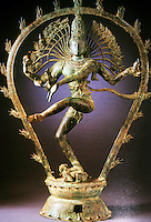 """India: Shiva as Lord of the Dance. Tamil Nadu, c. 950 bronze, 30 Inches.  """"...the dance symbolizes the 5 activities of Shiva as the Cosmic Deity; Creator, Preserver, Destroyer, Remover of Illusion, Dispenser of  Salvation. He dances on the crushed dwarf of ignorance."""