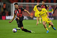 Lloyd Kelly of AFC Bournemouth gets to the ball before Scott Kashket of Wycombe Wanderers during AFC Bournemouth vs Wycombe Wanderers, Sky Bet EFL Championship Football at the Vitality Stadium on 15th December 2020