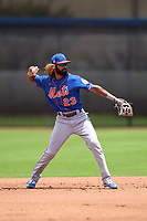 New York Mets shortstop Manny Rodriguez (23) throwing during a Minor League Spring Training game against the Houston Astros on April 27, 2021 at FITTEAM Ballpark of the Palm Beaches in Palm Beach, Fla.  (Mike Janes/Four Seam Images)
