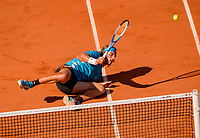 Paris, France, 2 june, 2019, Tennis, French Open, Roland Garros, Stefanos Tsitsipas (GRE) dives to the ball and return in his match against Wawrinka (SUI)<br /> Photo: Henk Koster/tennisimages.com