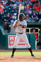 Gregory Lorenzo (1) of the Delmarva Shorebirds at bat against the Greensboro Grasshoppers at NewBridge Bank Park on May 26, 2013 in Greensboro, North Carolina.  The Grasshoppers defeated the Shorebirds 11-2.  (Brian Westerholt/Four Seam Images)