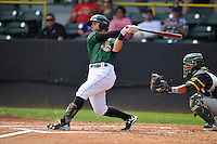 Clinton LumberKings Logan Taylor (14) swings during the Midwest League game against the Beloit Snappers at Ashford University Field on June 12, 2016 in Clinton, Iowa.  The LumberKings won 1-0.  (Dennis Hubbard/Four Seam Images)