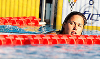 Trofeo Settecolli di nuoto al Foro Italico, Roma, 15 giugno 2013.<br /> Zsuzsanna Jakabos, of Hungaria, reacts after winning in the women's 200 meters Medley at the Sevenhills swimming trophy in Rome, 15 June 2013.<br /> UPDATE IMAGES PRESS/Isabella Bonotto