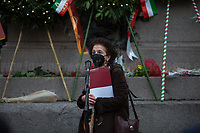 """Maria Mantello (President of the Assaciazione Nazionale del Libero Pensiero """"Giordano Bruno"""").<br /> <br /> Rome, Italy, 17th Feb, 2021. Today, the Assaciazione Nazionale del Libero Pensiero """"Giordano Bruno"""" (1.), with the participation of a representatives of Comune di Roma (Rome's Municipality) and Comune di Nola (Nola's Municipality), held the 421st Anniversary of the death of Giordano Bruno (2. 3.) in Rome's Campo de' Fiori (4.). On the 17th February 1600 the Dominican friar, Philosopher, mathematician, poet, occultist and cosmological theorist - after being charged of heresy by the Roman Inquisition due to be on denial of several core Catholic doctrines - was burned alive with his tongue in a gag in Rome's Campo dei Fiori. Father of the theories of the Infinite Universe and Worlds, «[…] Bruno's theories influenced 17th-century scientific and philosophical thought and, since the 18th century, have been absorbed by many modern philosophers. As a symbol of the freedom of thought, Bruno inspired the European Liberal movements of the 19th century, particularly the Italian Risorgimento (the movement for national political unity). […] his ethical ideas, in contrast to religious ascetical ethics, appeal to modern humanistic activism; and his ideal of religious and philosophical tolerance has influenced liberal thinkers […]» (5.).<br /> <br /> Footnotes & links:<br /> 1. http://www.periodicoliberopensiero.it/<br /> 2. https://bit.ly/2bBI5th (Wikipedia.org, ENG) <br /> 3. https://bit.ly/2Vb72mI (Treccani.it, ITA)<br /> 4. https://bit.ly/1OU5RzD (Wikipedia.org, ENG)<br /> 5. https://bit.ly/2BvzNQw (Britannica.com, ENG)<br /> 17.02.2019 - Giordano Bruno Anniversary in Rome's Campo de' Fiori (Foto / Video): http://bit.do/fNMSg & https://vimeo.com/318849723"""