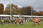 Leinster replacement Ross Molony takes the line out ball.<br /> British & Irish Cup<br /> Carmarthen Quins v Leinster A<br /> Carmarthen Park<br /> 25.10.14<br /> ©Steve Pope-SPORTINGWALES