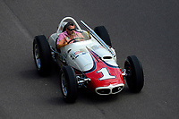 Tony Stewart drives A. J. Foyt's 1961 Indy 500 winning car during pre-race for the Indy 500.