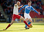 St Johnstone v Kilmarnock…25.02.17     SPFL    McDiarmid Park<br />Joe Shaughnessy is tackled by Connor Sammon<br />Picture by Graeme Hart.<br />Copyright Perthshire Picture Agency<br />Tel: 01738 623350  Mobile: 07990 594431