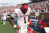 Arkansas quarterback KJ Jefferson (1) returns to the locker room, Saturday, October 9, 2021 at the end of a football game at Vaught Hemingway Stadium in Oxford, Miss. Check out nwaonline.com/211010Daily/ for today's photo gallery. <br /> (NWA Democrat-Gazette/Charlie Kaijo)