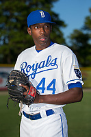 Burlington Royals pitcher Yerelmy Garcia (44) poses for a photo prior to the game against the Danville Braves at Burlington Athletic Stadium on August 12, 2017 in Burlington, North Carolina.  The Braves defeated the Royals 5-3.  (Brian Westerholt/Four Seam Images)