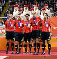 Marina Wozniak, Jenny Palmqvist, Katrin Rafalski, Bibiana Steinhaus, Maria Luisa Villa Gutierrez.  Japan won the FIFA Women's World Cup on penalty kicks after tying the United States, 2-2, in extra time at FIFA Women's World Cup Stadium in Frankfurt Germany.