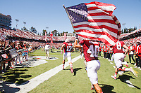 Stanford - August 30, 2014: Start of the Stanford Cardinal vs UC Davis Aggies game Saturday afternoon at Stanford Stadium. <br /> <br /> Stanford won 0-45.