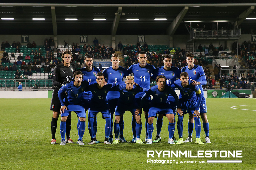 EVENT:<br /> UEFA European U21 Championship Qualifier Group 1 Republic of Ireland v Italy<br /> Thursday 10th October 2019,<br /> Tallaght Stadium, Dublin<br /> <br /> CAPTION:<br /> The Italy Team<br /> <br /> Photo By: Michael P Ryan