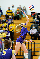 DeForest's Natalie Compe goes for a kill shot, as DeForest tops Waunakee 3 sets to 1 in Wisconsin WIAA girls high school volleyball regional finals on Saturday, Apr. 10, 2021 at DeForest High School