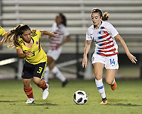 Lakewood Ranch, FL - Wednesday, October 10, 2018:   Sharon Ramirez C., Payton Linnehan during a U-17 USWNT match against Colombia.  The U-17 USWNT defeated Colombia 4-1.