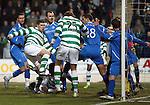 St Johnstone v Celtic...18.12.11   SPL .Gary Hooper scores the oepning goal.Picture by Graeme Hart..Copyright Perthshire Picture Agency.Tel: 01738 623350  Mobile: 07990 594431