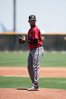 Arizona Diamondbacks relief pitcher Melvin Ovalles (12) prepares to deliver a pitch during an Extended Spring Training game against the Cleveland Indians at the Cleveland Indians Training Complex on May 27, 2018 in Goodyear, Arizona. (Zachary Lucy/Four Seam Images)