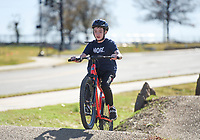 Carson Shamblin, 12, of Rogers celebrates his birthday by breaking in his new bike, Sunday, November 15, 2020 along the Mama Bear trail in Bentonville. Check out nwaonline.com/201116Daily/ for today's photo gallery. <br /> (NWA Democrat-Gazette/Charlie Kaijo)